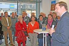 Bild: Oberbürgermeister Daniel Schranz begrüßte bei der Eröffnung des Büros zahlreiche Gäste. (Foto: Stadt Oberhausen)