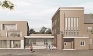 Bild: Modellzeichnung des Sieger-Entwurfs der Gernot Schulz Architektur GmbH. (Simulation: OGM)
